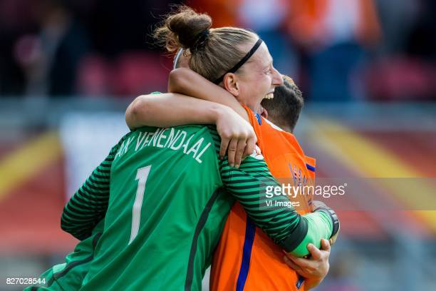 goalkeeper Sari van Veenendaal of Holland Women Shanice van de Sanden of Holland Women during the UEFA WEURO 2017 final match between The Netherlands...