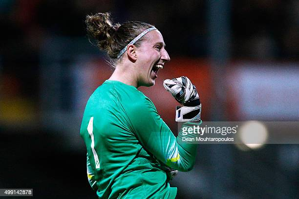 Goalkeeper Sari van Veenendaal of the Netherlands celebrates a teammate scoring a goal during the International Friendly match between Netherlands...