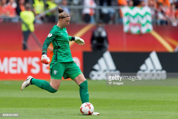 Goalkeeper Sari van Veenendaal of the Netherlands controls the ball during their Group A match between Netherlands and Norway during the UEFA Women's...