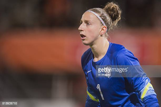 Goalkeeper Sari van Veenendaal of the Netherlands during the 2016 UEFA Women's Olympic Qualifying Tournament match between Norway and Netherlands on...