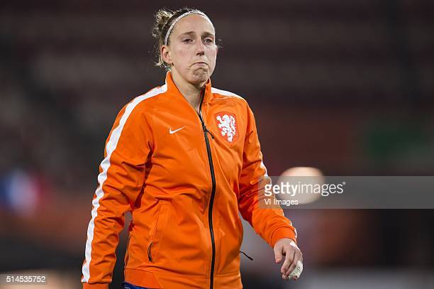 Goalkeeper Sari van Veenendaal of the Netherlands during the 2016 UEFA Women's Olympic Qualifying Tournament match between Netherlands and Sweden on...