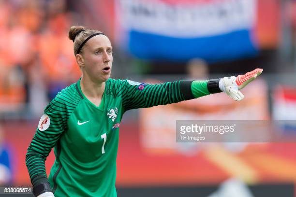 Goalkeeper Sari van Veenendaal of the Netherlands gestures during their Group A match between Netherlands and Norway during the UEFA Women's Euro...