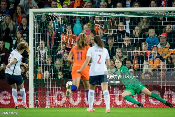 Goalkeeper Sari van Veenendaal of the Netherlands stops a penalty of Maren Mjelde of Norway during the FIFA Women's World Cup 2019 qualifying match...