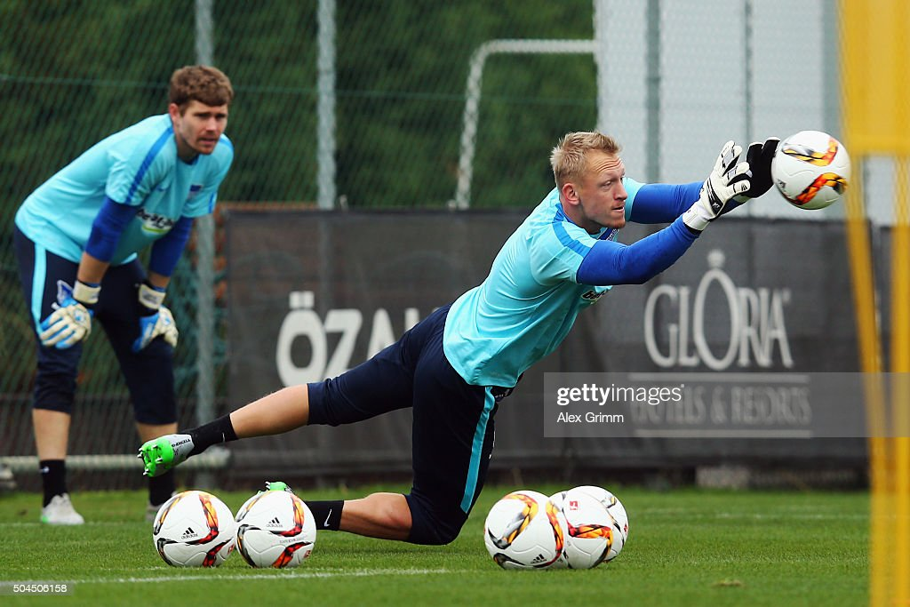 Goalkeeper <a gi-track='captionPersonalityLinkClicked' href=/galleries/search?phrase=Sascha+Burchert&family=editorial&specificpeople=2268765 ng-click='$event.stopPropagation()'>Sascha Burchert</a> makes a save during a Hertha BSC Berlin training session on day 6 of the Bundesliga Belek training camps at Gloria Sports Center on January 10, 2016 in Belek, Turkey.