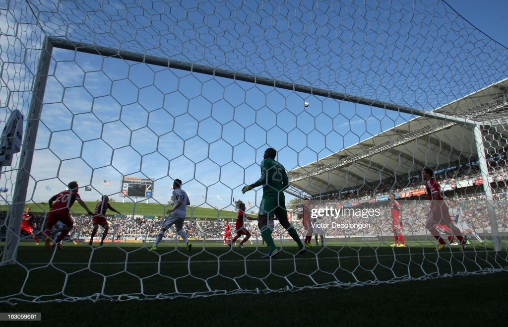 Goalkeeper Sean Johnson of the Chicago Fire stands in position to defend his net during the MLS match against the Los Angeles Galaxy at The Home...