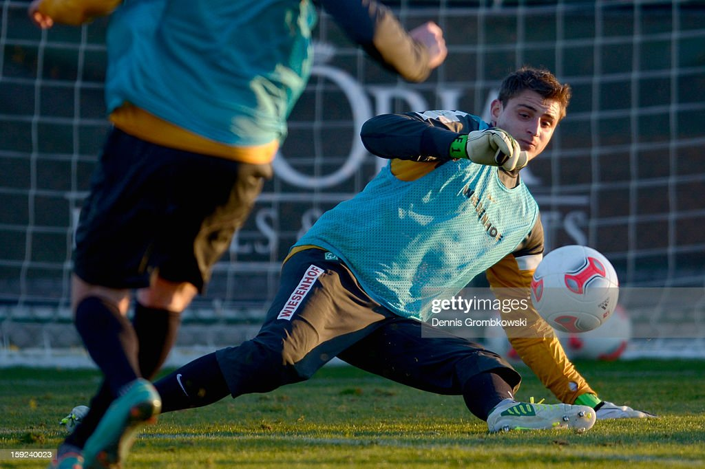 Goalkeeper Sebastian Mielitz of Bremen does a save during a training session at day six of the Werder Bremen Training Camp on January 10, 2013 in Belek, Turkey.