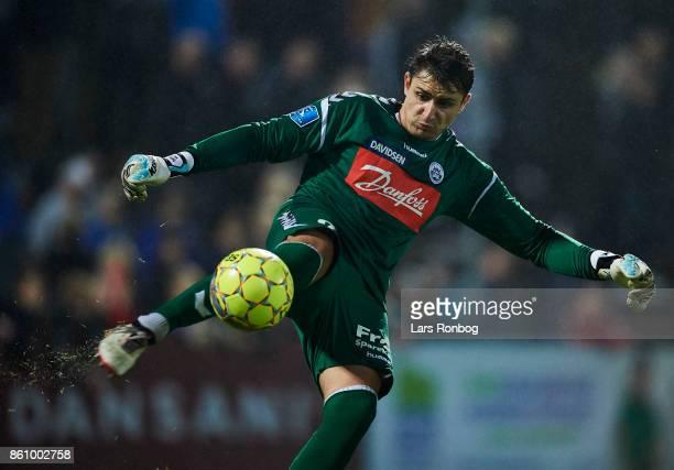 Goalkeeper Sebastian Mielitz of Sonderjyske in action during the Danish Alka Superliga match between Sonderjyske and FC Midtjylland at Sydbank Park...