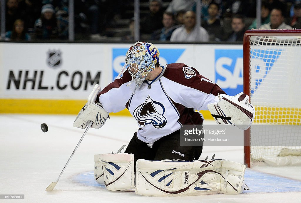 Goalkeeper Semyon Varlamov #1 of the Colorado Avalanche blocks a shot against the San Jose Sharks in the second period at HP Pavilion on February 26, 2013 in San Jose, California.