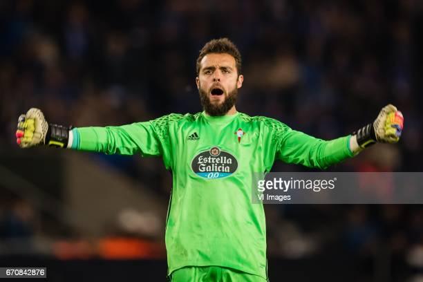 goalkeeper Sergio Alvarez of RC Celta de Vigoduring the UEFA Europa League quarter final match between KRC Genk and Celta de Vigo on April 20 2017 at...