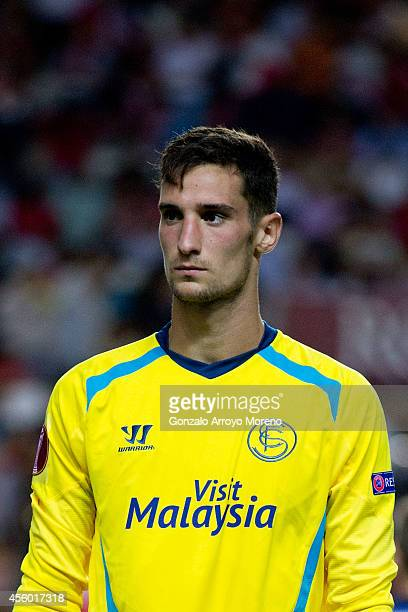 Goalkeeper Sergio Rico of Sevilla FC looks on prior to start the UEFA Europa League group G match between Sevilla FC and Feyenoord at Ramon Sanchez...