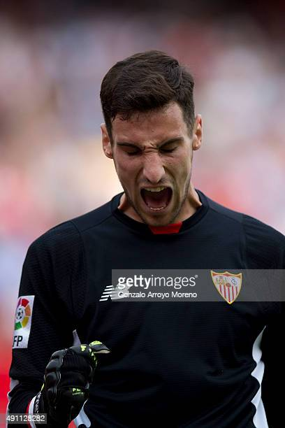 Goalkeeper Sergio Rico of Sevilla FC shouts during the La Liga match between Sevilla FC and FC Barcelona at Estadio Ramon Sanchez Pizjuan on October...