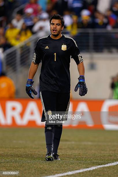 goalkeeper Sergio Romero of Argentina in action against Ecuador at MetLife Stadium on November 15 2013 in East Rutherford New Jersey Ecuador play to...