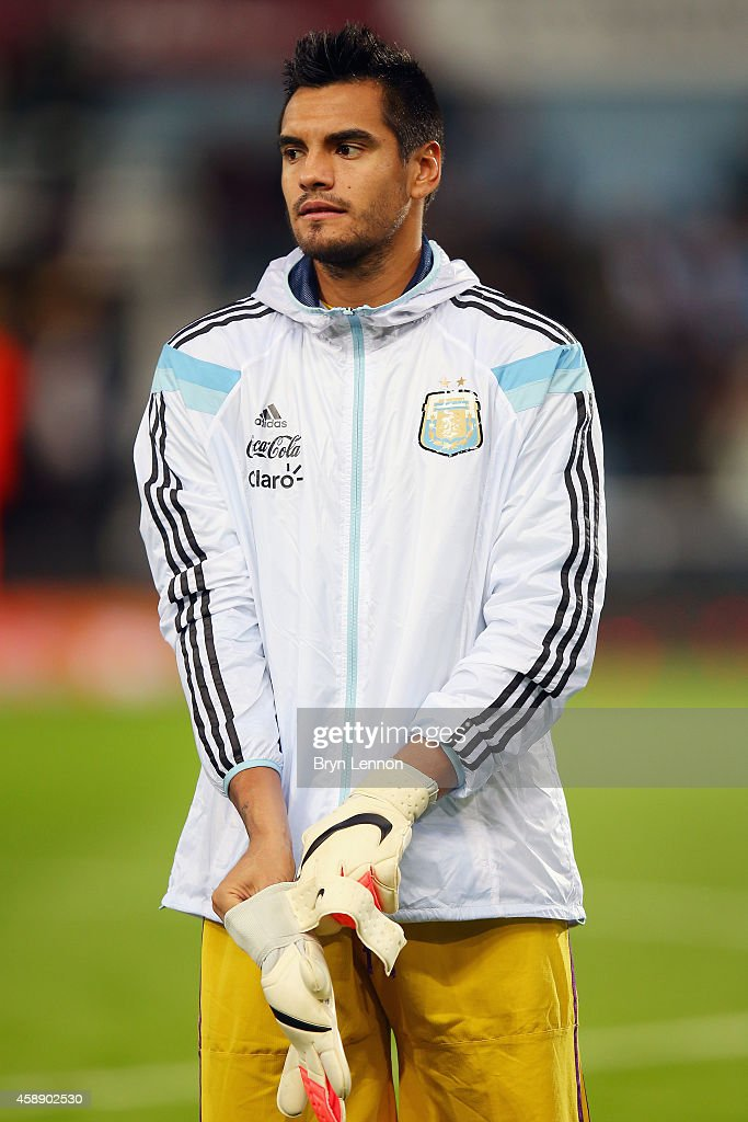 Goalkeeper Sergio Romero of Argentina stands during the playing of national anthems prior to the International Friendly between Argentina and Croatia at Boleyn Ground on November 12, 2014 in London, England.