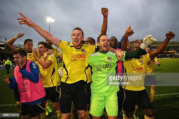Goalkeeper Shane Gore and Nick Beasant of Chesham United celebrate their sides 10 victory at the final whistle during the Emirates FA Cup first round...
