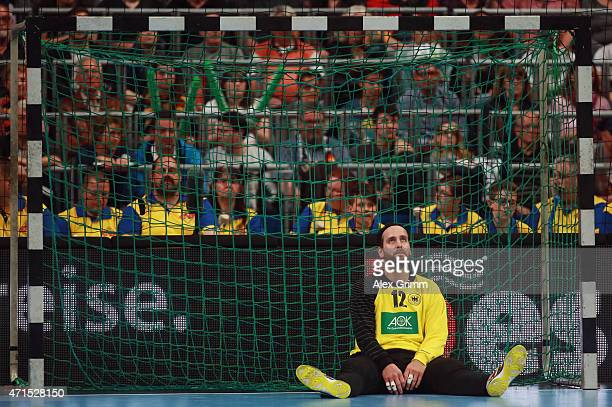 Goalkeeper Silvio Heinevetter of Germany reacts during the European Handball Championship 2016 Qualifier match between Germany and Spain at SAP Arena...