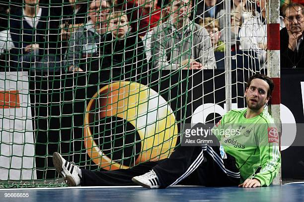Goalkeeper Silvio Heinevetter of Germany reacts during the international handball friendly match between Germany and Iceland at the Arena Nuernberger...
