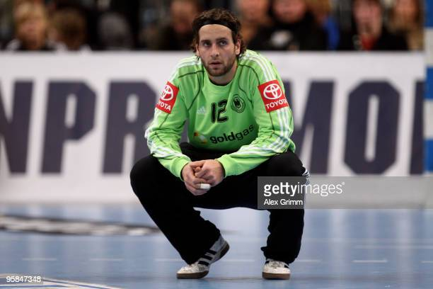 Goalkeeper Silvio Heinevetter of Germany reacts during the international handball match between Germany and Brazil at the SAP Arena on January 13...