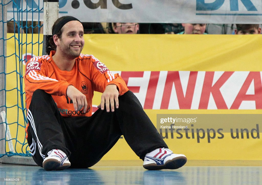 Goalkeeper Silvio Heinevetter of Germany reacts during the match between Germany and Bundesliga All Stars on February 2, 2013 in Leipzig, Germany.