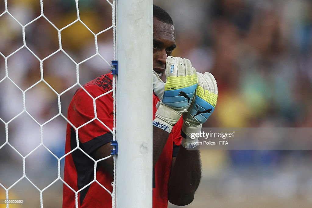 Goalkeeper Simione Tamanisau of Fiji in action during the Men's Group C match between Germany and Fiji on Day 5 of the Rio2016 Olympic Games at Mineirao Stadium on August 10, 2016 in Belo Horizonte, Brazil.