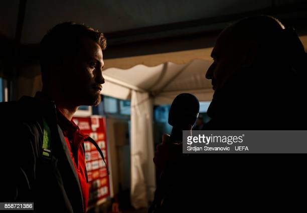 Goalkeeper Simon Mignolet of Belgium gives an interview after the FIFA 2018 World Cup Qualifier between Bosnia and Herzegovina and Belgium at stadium...