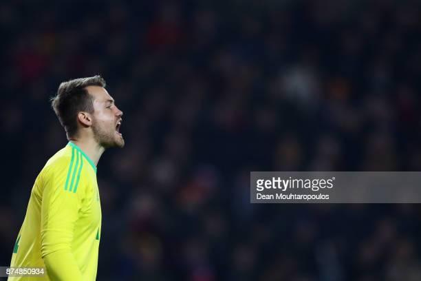 Goalkeeper Simon Mignolet of Belgium in action during the international friendly match between Belgium and Japan held at Jan Breydel Stadium on...