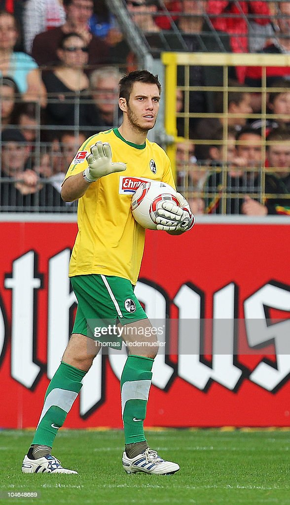 Goalkeeper <a gi-track='captionPersonalityLinkClicked' href=/galleries/search?phrase=Simon+Pouplin&family=editorial&specificpeople=2087398 ng-click='$event.stopPropagation()'>Simon Pouplin</a> of Freiburg gestures during the Bundesliga match between SC Freiburg and 1. FC Koeln at Badenova Stadium on October 2, 2010 in Freiburg im Breisgau, Germany.
