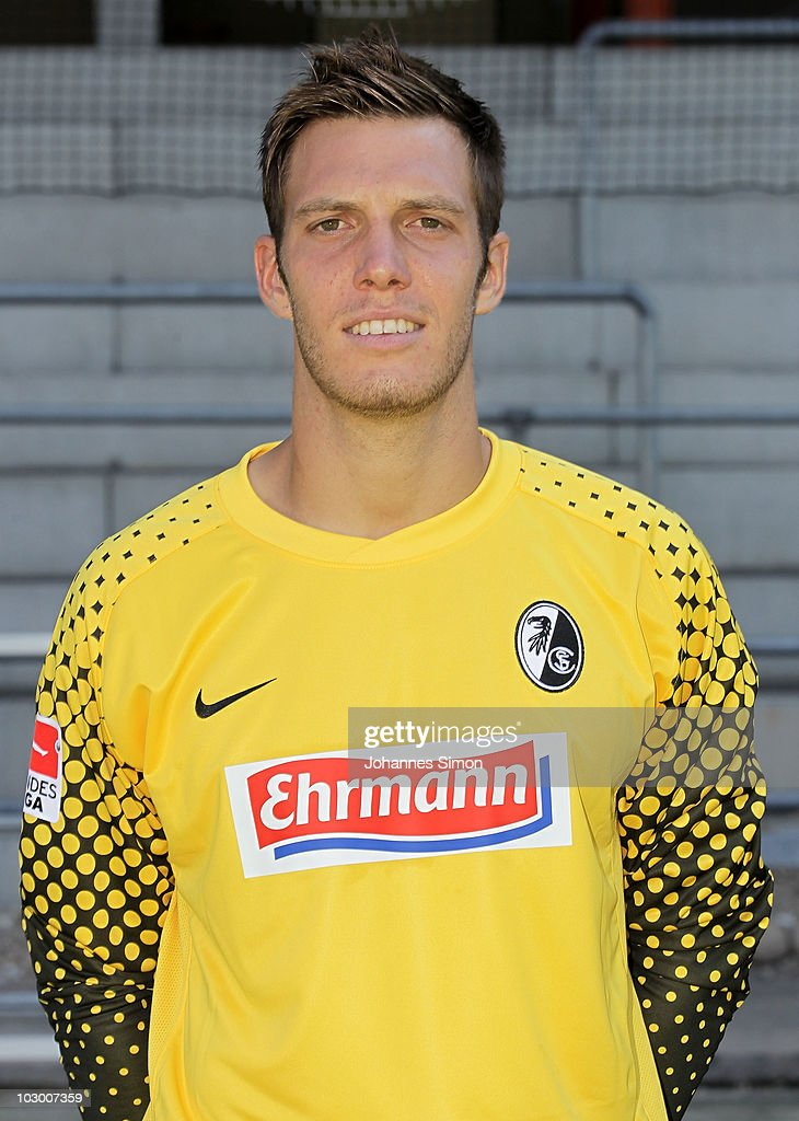 Goalkeeper <a gi-track='captionPersonalityLinkClicked' href=/galleries/search?phrase=Simon+Pouplin&family=editorial&specificpeople=2087398 ng-click='$event.stopPropagation()'>Simon Pouplin</a> poses during the team presentation of Bundesliga football club SC Freiburg on July 20, 2010 in Freiburg im Breisgau, Germany.