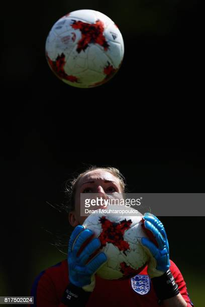 Goalkeeper Siobhan Chamberlain of the England women's national team in action during a training session on the eve of their UEFA Women's 2017 Group D...