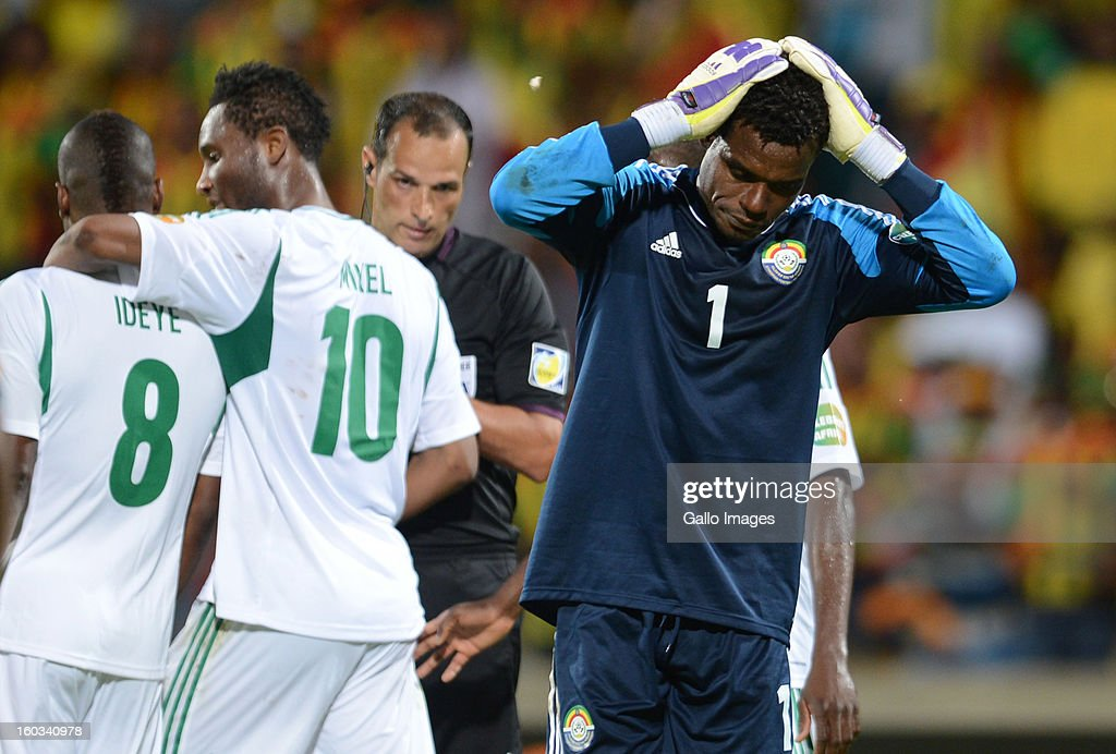 AFRICA - JANUARY 29, Goalkeeper Sisay Bancha of Ethiopia looks dejected after being given a red card during the 2013 African Cup of Nations match between Ethiopia and Nigeria at Royal Bafokeng Stadium on January 29, 2013 in Rustenburg, South Africa.