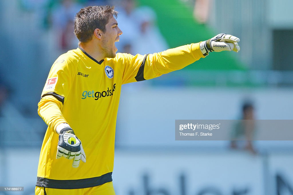 Goalkeeper Stefan Ortega Moreno of Bielefeld reacts during the Second Bundesliga match between Greuther Fuerth and Arminia Bielefeld at the Trolli Arena on July 21, 2013 in Fuerth, Germany.