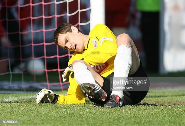 Goalkeeper Stefan Waechter of Rostock looks dejected after Dimitar Rangelov of Cottbus scoring the third goal during the Bundesliga match between FC...