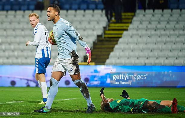 Goalkeeper Sten Grytebust of OB Odense shows frustration during the Danish Alka Superliga match between OB Odense and Brondby IF at EWII Park on...