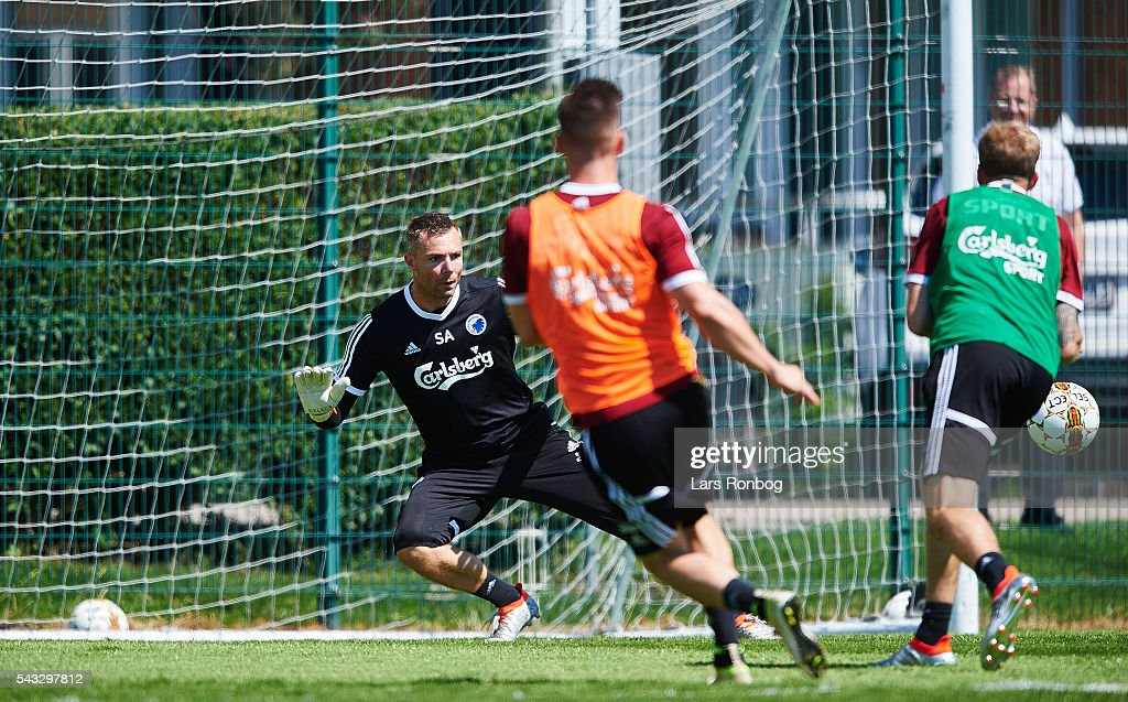 Goalkeeper Stephan Andersen of FC Copenhagen in action during the FC Copenhagen training session at KB's baner on June 27, 2016 in Frederiksberg, Denmark.