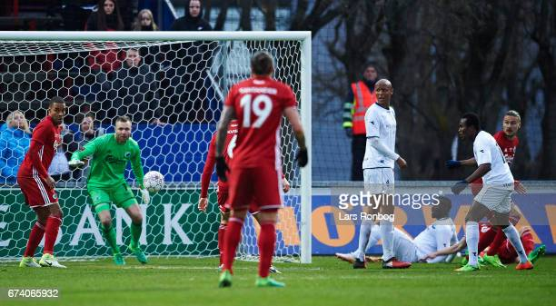 Goalkeeper Stephan Andersen of FC Copenhagen in action during the Danish cup DBU Pokalen semfinal match between Vendsyssel FF and FC Copenhagen at...