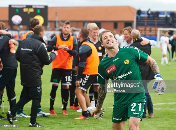 Goalkeeper Steve Clark of AC Horsens celebrates with the fans after the Danish Alka Superliga Playoff match between Vendsyssel FF and AC Horsens at...