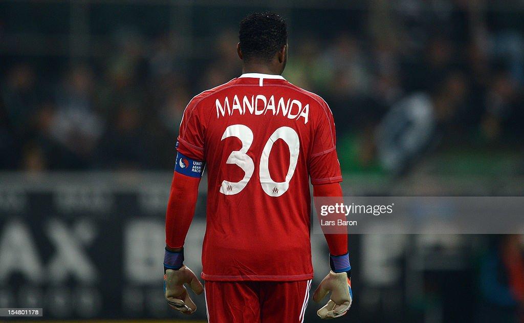 Goalkeeper Steve Mandanda of Marseille is seen during the UEFA Europa League group C match between Borussia Moenchengladbach and Olympique de...
