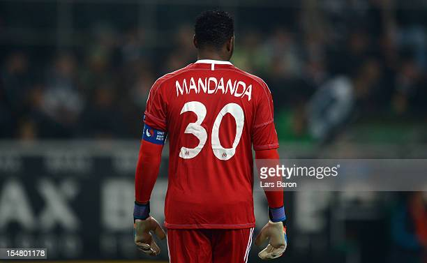 Goalkeeper Steve Mandanda of Marseille is seen during the UEFA Europa League group C match between Borussia Moenchengladbach and Olympique de...