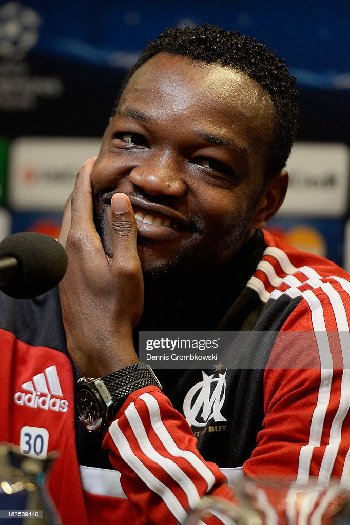 Goalkeeper Steve Mandanda of Olympique Marseille reacts during a press conference ahead of their Champions League match against Borussia Dortmund on...