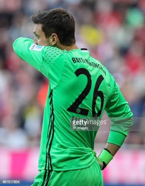 Goalkeeper Sven Ulreich looks on during the Bundesliga match between Bayern Muenchen and Borussia Dortmund at Allianz Arena on April 8 2017 in Munich...