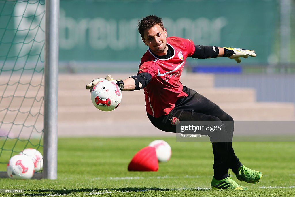Goalkeeper <a gi-track='captionPersonalityLinkClicked' href=/galleries/search?phrase=Sven+Ulreich&family=editorial&specificpeople=4877030 ng-click='$event.stopPropagation()'>Sven Ulreich</a> makes a save during a VfB Stuttgart training session at the club's premises on May 8, 2013 in Stuttgart, Germany.