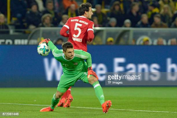 Goalkeeper Sven Ulreich of Bayern Muenchen controls the ball during the German Bundesliga match between Borussia Dortmund v Bayern Munchen at the...