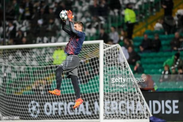 goalkeeper Sven Ulreich of Bayern Munich controls the ball prior the UEFA Champions League group B match between Celtic FC and Bayern Muenchen at...