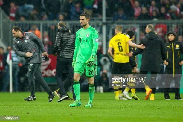 Goalkeeper Sven Ulreich of Bayern Munich looks dejected during the German Cup semi final soccer match between FC Bayern Munich and Borussia Dortmund...