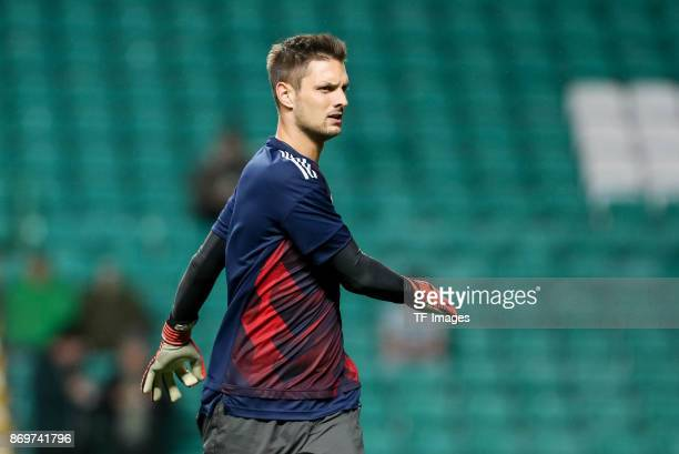 goalkeeper Sven Ulreich of Bayern Munich looks on prior the UEFA Champions League group B match between Celtic FC and Bayern Muenchen at Celtic Park...