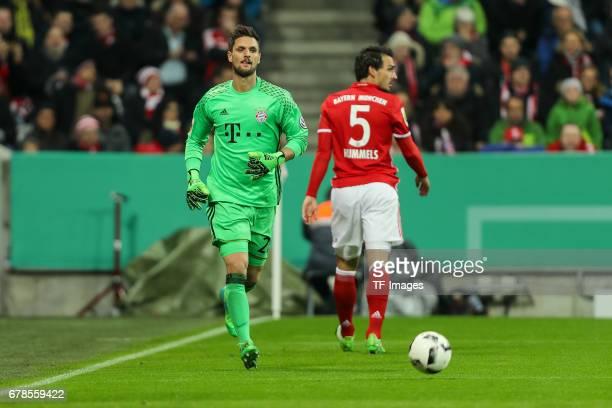 Goalkeeper Sven Ulreich of Bayern Munich Mats Hummels of Bayern Munich looks on during the German Cup semi final soccer match between FC Bayern...