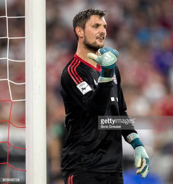 Goalkeeper Sven Ulreich of FC Bayern Muenchen gestures during the Audi Cup 2017 match between Bayern Muenchen and Liverpool FC at Allianz Arena on...
