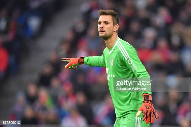 Goalkeeper Sven Ulreich of FC Bayern Muenchen gestures during the Bundesliga match between FC Bayern Muenchen and FC Augsburg at Allianz Arena on...
