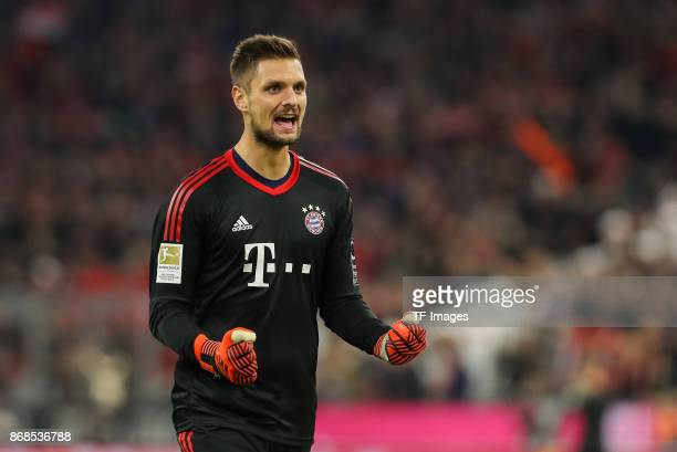 Goalkeeper Sven Ulreich of Muenchen celebrates his team´s first goal during the Bundesliga match between FC Bayern Muenchen and RB Leipzig at Allianz...