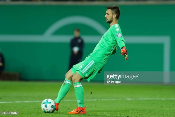goalkeeper Sven Ulreich of Muenchen controls the ball during the DFB Cup round 2 match between RB Leipzig and Bayern Muenchen at Red Bull Arena on...