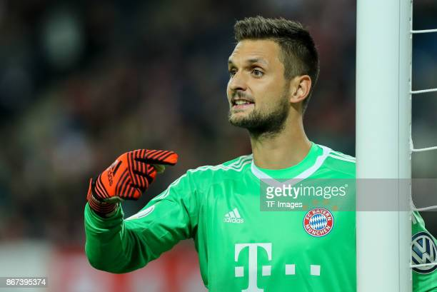 goalkeeper Sven Ulreich of Muenchen gestures during the DFB Cup round 2 match between RB Leipzig and Bayern Muenchen at Red Bull Arena on October 25...